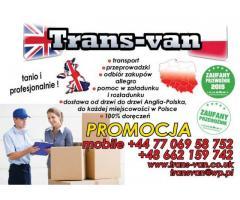 TRANS-VAN paczki przeprowadzki Polska- Anglia